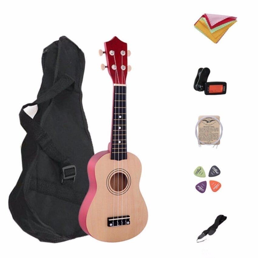 ขาย 21 Inch Wood Concert Ukulele with Free Bag 7 in 1 Tuner Strap Spare String Wiper Ukulele Pick - intl