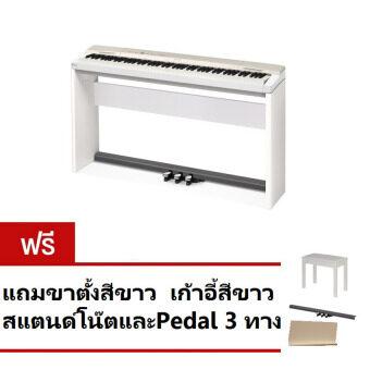 Casio เปียโนไฟฟ้า 88 คีย์ รุ่น PX160GDSET (White) ฟรี ขาตั้งสีขาว/เก้าอี้สเเตนด์โน๊ต/Pedal 3 ทาง