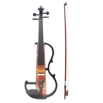 Full Size 4/4 Electric Violin Fiddle Maple Wood Stringed Instrument Ebony Fretboard Chin Rest with 1/4