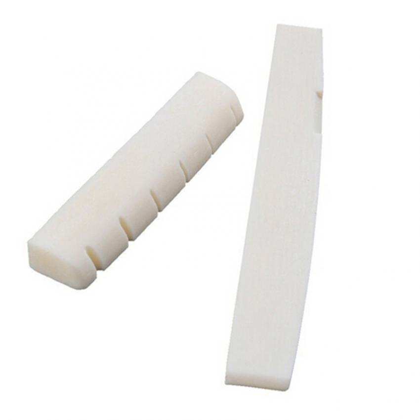 Jetting Buy 2 ชุดงาช้างสะพานควายกระดูกสันหลัง & น็อตยึดดุมล้อสำหรับ 6 สายกีต้าร์อะคูสติกขาว