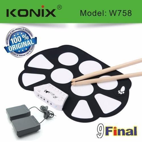 KONIX Roll-Up Electronic Drum Kit รุ่น W758 (OEM) BY 9FINAL กลองชุดพกพา ม้วนพับได้ ตีได้เหมือนกลองจริง พร้อมขาเหยียบ