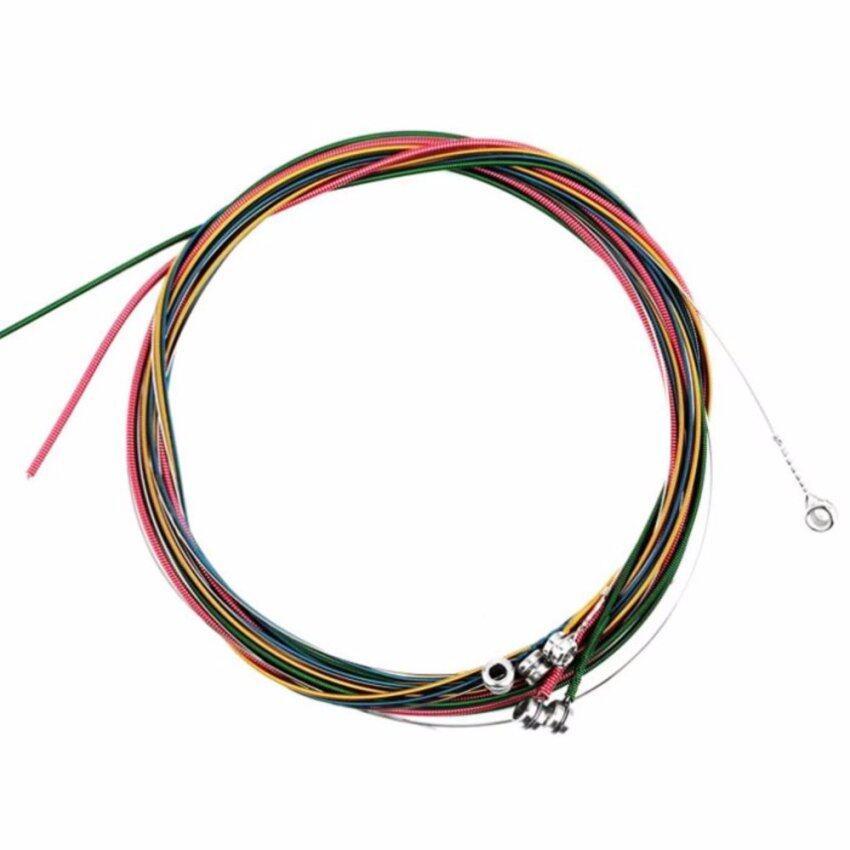 Rainbow Guitar Strings Set สายกีต้าร์โปร่งสีรุ้ง แถมฟรี! ปิ๊กกีต้าร์