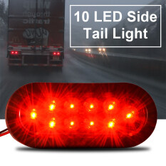 10 Diode Trailer Truck 6 Oval LED Turn Signals Tail Light w/ Grommet Plug MA764 - Intl