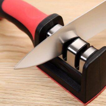 ที่ลับมีด แบบสองช่องความละเอียดพร้อมด้ามจับถนัดมือ 3 ช่อง (สีแดงดำ)