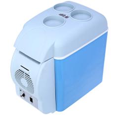 ตู้เย็นรถ7.5L แบบพกพาขนาดเล็กคูลเลอร์รถยนต์ไฟฟ้าอุ่นตู้เย็นตู้เย็น Auto Supply (สีฟ้า)