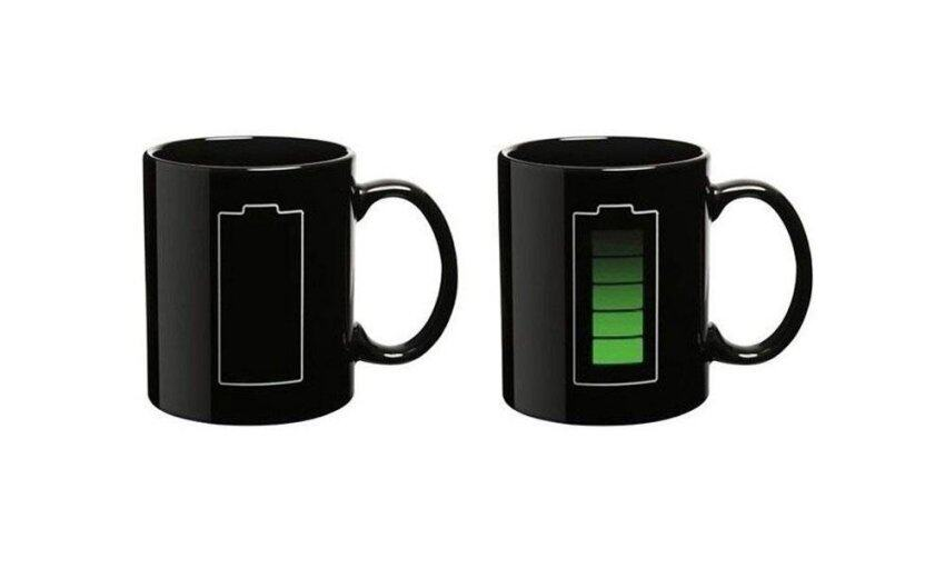 hatai Battery Color Thermometer Heat Changing Mug Cup Glass,Black - intl