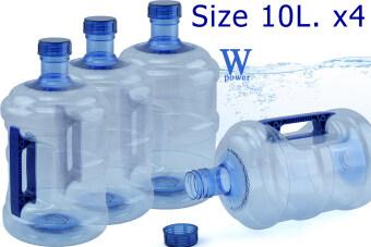 Wpower ถังน้ำดื่ม ขนาด 10ลิตร รุ่น ถังน้ำโพลีคาร์บอเนต กลมใส พร้อมด้ามจับมือถือ แพ็ค4 สีน้ำเงิน