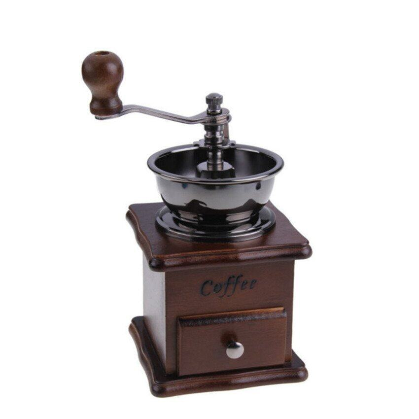 LZ Mini Manual Coffee Mill Wood Stand Bowl Antique Hand Coffee Beangrinder - intl