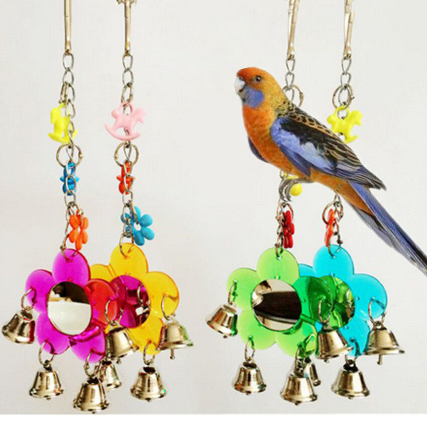 Parrot Pet Bird Chew Cages Hang Toys Wood Large Rope Cave Ladder Bells Chew Toy - intl ...