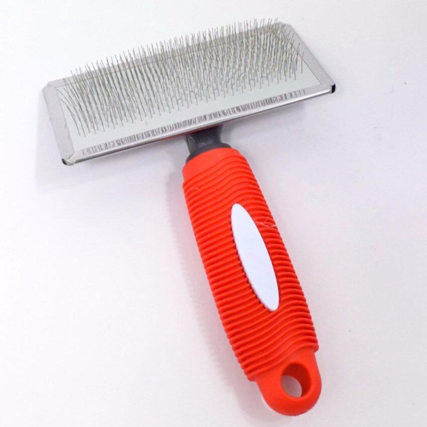 Pet Slicker Brush Cat Dog Puppy Fur Shedding Grooming Soft Pin Gilling Comb with Rubber Handle _S - intl