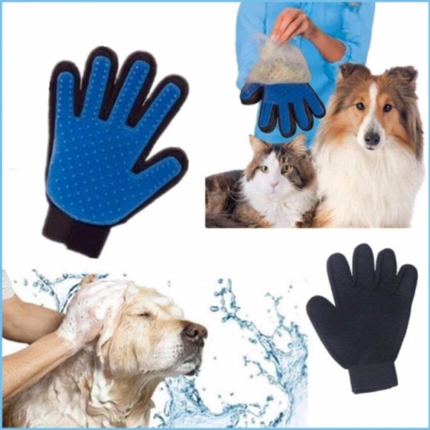 True Touch ถุงมือหวีขน อุปกรณ์แปรงขนสัตว์เลี้ยง หวีขนหมาและขนแมว Grooming Gloves อุปกรณ์ ...