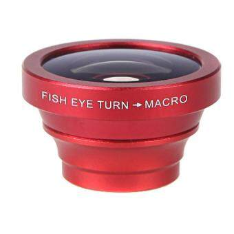 180 Degree Fisheye Macro Lens Magnetic Mount for iPhone 5S 5 Galaxy S4 S3 Note 3 HTC 2 in 1 Red - intl