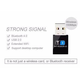 2 IN1 Bluetooth V4.0 USB Adapter 150Mbps Mini Wireless USB WI-FI Adapter LAN WIFI Card(Black) - intl