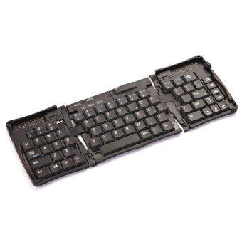 3 Folds Wireless Keyboard Rechargeable Portable Pocket Size Keyboard Slim Keyboard with Phone Stand - intl