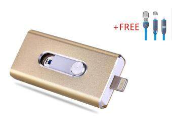 3 in 1 Flash Drive OTG 256GB phone U Disk For Iphone/Iphone 7/Android +Free 2 in 1 usb cable(gold)