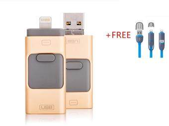 3 in 1 phone OTG 8GB Flash Memory drive For Iphone/Iphone 7 /Android/PC+Free 2 in 1 USB flash cable(gold)