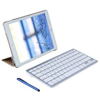 4 in 1 Leather Stand Smart Cover Case with Wireless BluetoothKeyboard for iPad Pro 9.7 (Gold)