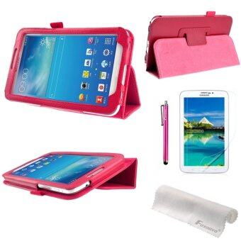 4-in-1 Litchi PU Case & Stylus Pen & Screen Guard & Cloth for Samsung Galaxy Tab 3 (Rosy)