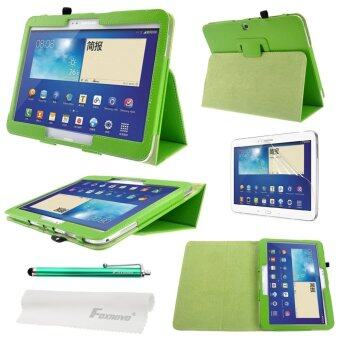 4-in-1 Litchi Texture Smart PU Flip Case Cover Stand Set for Samsung Galaxy Tab 3 (Green)