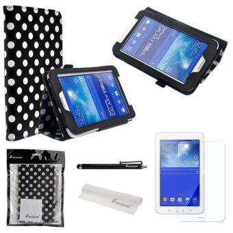 4-in-1 Polka Dots Pattern PU Flip Case Cover for Samsung Galaxy Tab 3 (Black)