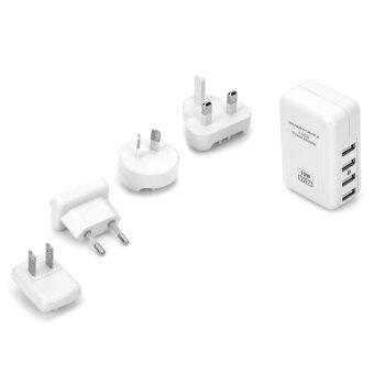 4 USB Power Adapter w/ US/AU/UK/EU Plug 4 Port USB Travel Wall Charger White