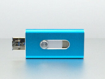 64 GB apple Mobile phone usb flash drive flat twin plug OTG Mobile U disk Android General(Blue) - intl
