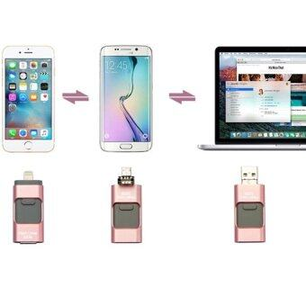 64GB 3 in 1 For USB Flash Drive HD Pendrive Lightning data for iPhone6s/6splus/6 for PC/MAC (Pink) - intl