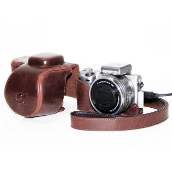 โพลียูรีเทนเครื่องหนังกระเป๋ากล้องกระเป๋าเคสครอบสำหรับกล้องรุ่น A5000 A5100 NEX 3N-ระหว่างประเทศ
