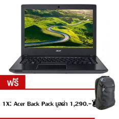 "Acer Notebook Aspire E5-475G-39PL(NXGCPST003) i3-6100U 4GB 1TB GT940MX Linux 14"" (Black) ฟรี 1X:Acer Back Pack มูลค่า 1,290.-"