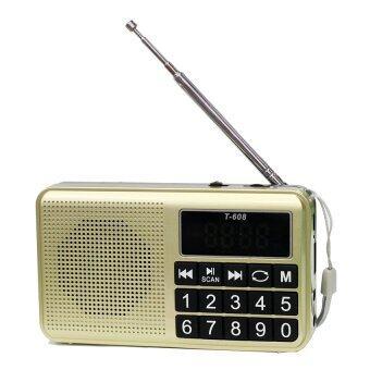 ลำโพงวิทยุ AM/FM ลำโพง Mp3/USB/Micro SD Card รุ่นT-608 (gold)