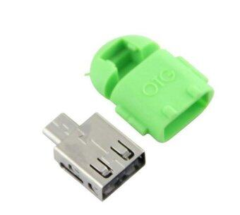 Android Robot Shape Micro Mini USB OTG Adapter Cable For Tablet PC MP3/MP4 smart Phone Green