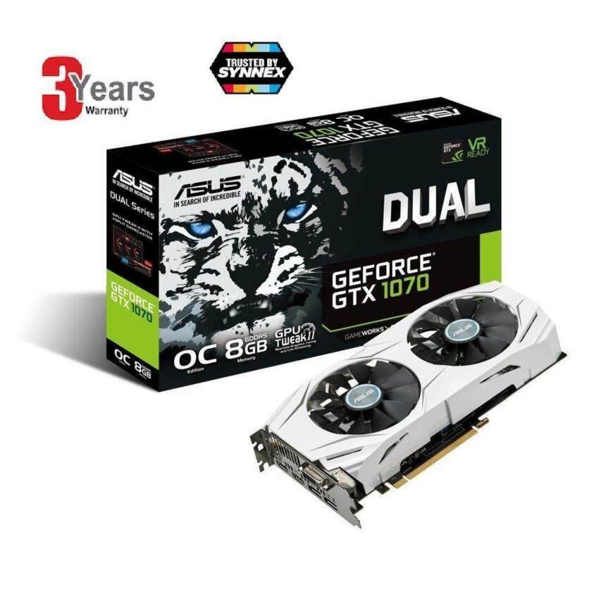 ห้ามพลาด ASUS GeForce GTX 1070 O8GB Dual-fan OC Edition 4K/VR Ready DualHDMI DP 1.4 Gaming Graphics Card (DUAL-GTX1070-O8G)-3 Years(BySynnex,Asus Service Center) แนะนำเลย