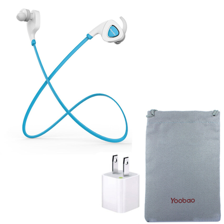 Bluedio Q5 Bluetooth Headset Sport Headset ( Blue ) +Yoobao Soft Case + ปลั๊ก ชาร์จ USB