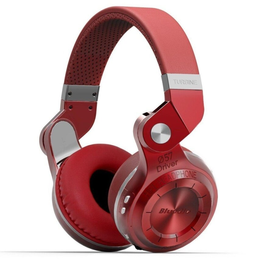 Bluedio T2 Plus Turbine Wireless Bluetooth Headphones with Mic/Micro SD Card Slot/FM Radio (Red) - intl