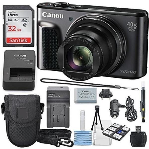 Canon PowerShot SX720 HS Digital Camera 32GB SDHC Class 10, Travel Charger, Cleaning Pen, Carrying Case, Along with a Deluxe Bundle - intl