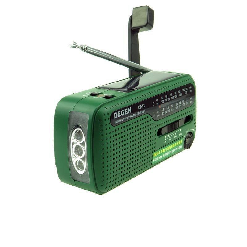DEGEN DE13 Protable Mini Outdoor Stereo FM AM SW Radio Hand Crank Generate Electricity/Solar Energy Charge With Flashlight - intl