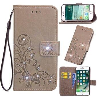 Diamante Flower Debossed Leather Flip Cover Case for Xiaomi Mi Max2 intl .
