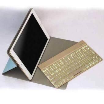 F16S For IPAD Air 2 Wireless คีย์บอร์ดบูลทูธ คีย์บอร์ดสำหรับพกพา คีย์บอร์ดบูลทูธมาพร้อมเคสสำหรับไอแพดแอร์2Ultra Slim Aluminum Bluetooth Keyboard+7colors RGB LED backlight+PU leather Case For ipad Air2 (Gold)