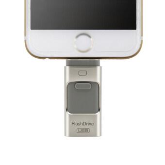 Flash Drive 32GB 3 in 1 Metal USB OTG U Disk Menory Stick (Silver)