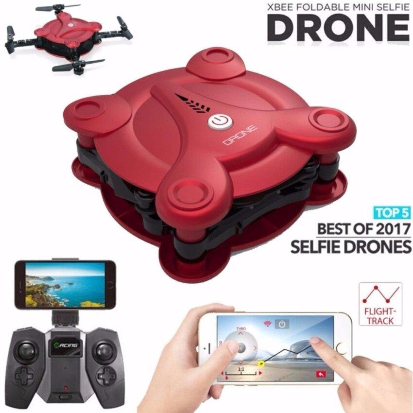 โดรนติดกล้อง FQ777 FQ17W Red สีแดงMini Wifi FPV Drone Foldable Pocket RC Quadcopter