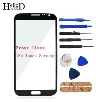 Front Outer Glass Screen Lens (No Touch) For Samsung Galaxy Note 2 N7100 + Free Tools + Adhesive (Black) - intl