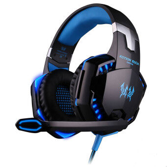G2000 Deep Bass Game Headphone Stereo Surrounded Over-Ear Gaming Headset with Led Light for Gamer(Blue Black)