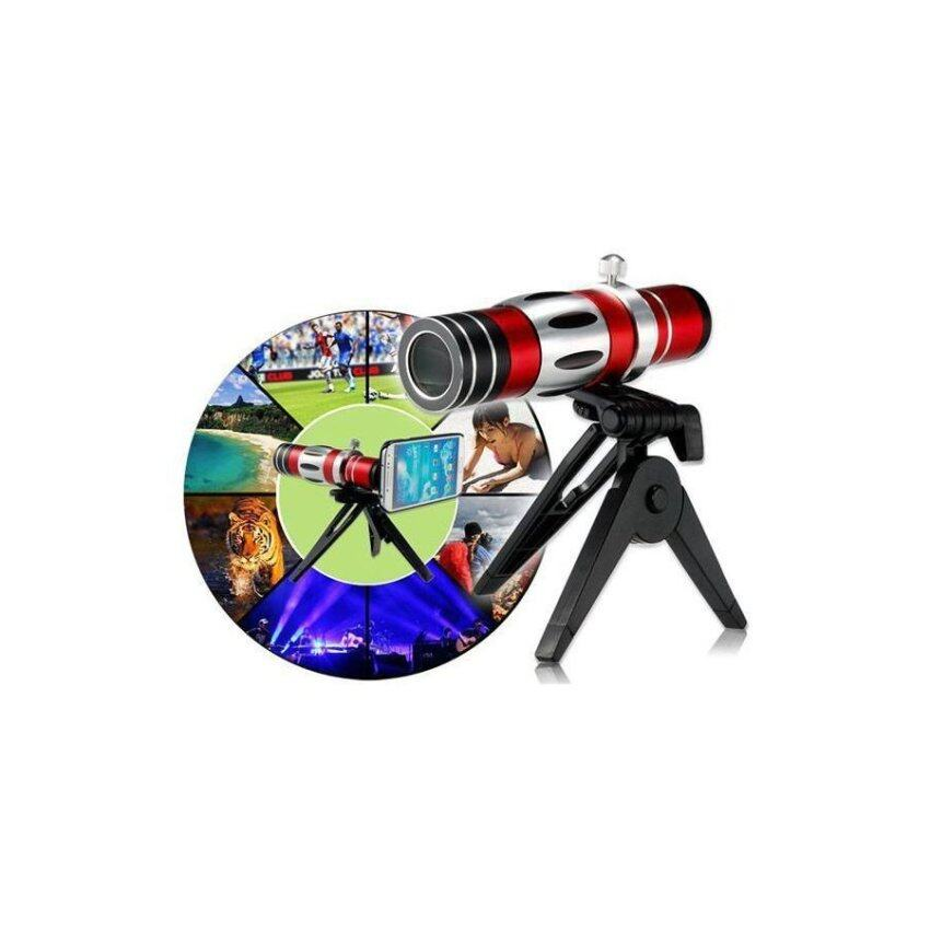 Generic 18X Optical Zoom Telescope Lens with 150X Macro lens Tripod Case for Samsung S4 (Red)
