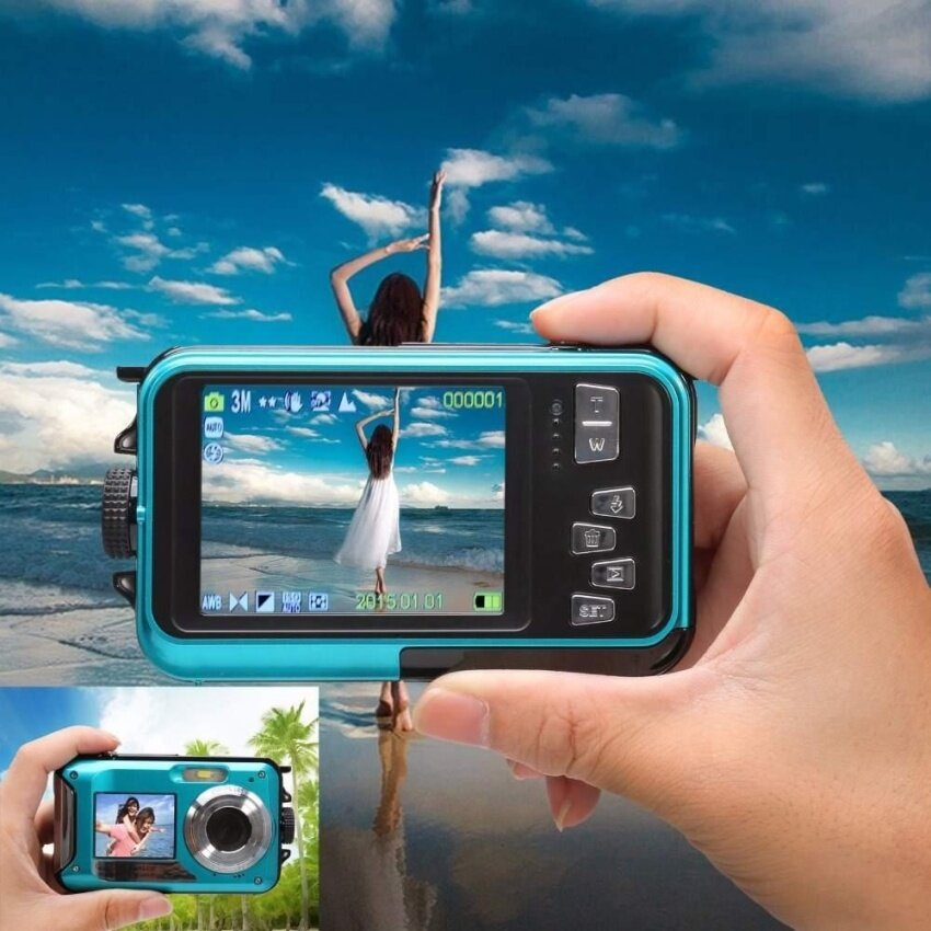 HD Digital Video Camera 24 million Pixel Digital 16X Zoom Dual LCD Screen Anti-shake Mini Camcorder 32GB TF card Storage - intl