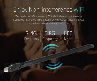 High Power Portable 600Mbps Dual Frequency USB 2.0 Wireless Adapter - intl