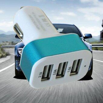 Car USB Charger ปลั๊กไฟเลี้ยง USB ชาร์จในรถยนต์ 3 ช่อง (สีขาว)