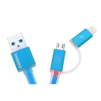 Remax สายชาร์จAurora High Speed Cable 2-in-1 for Mirco USB/iPhone 5 (สีฟ้า) (image 1)