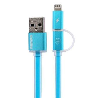 Remax สายชาร์จAurora High Speed Cable 2-in-1 for Mirco USB/iPhone 5 (สีฟ้า) (image 0)