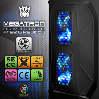 Tsunami Megatron X2 Series USB 3.0 Gaming Case with 3 x LED Fan (BLACK&BLUE) (image 2)