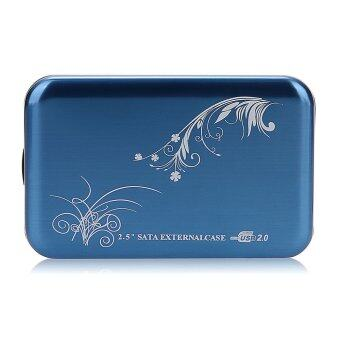 "USB 2.0 2.5"" SATA HDD Hard Drive Disk Flower Case Box Enclosure External Blue UK"